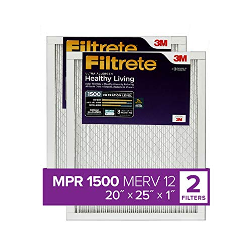 Filtrete 20x25x1, AC Furnace Air Filter, MPR 1500, Healthy Living Ultra Allergen, 2-Pack (exact dimensions 19.719 x 24.688 x 0.78)