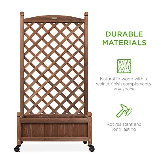 Best choice products 60in wood planter box & diamond lattice trellis, mobile outdoor raised garden bed for climbing… 5 diamond lattice: a 60-inch trellis is woven in a tight, diamond pattern to provide structural support and plenty of space for climbing plants planter box: fill the 10-inch deep box with your favorite potted plants and a water-resistant liner (not included) or a fresh soil bed thanks to built-in drainage holes optional wheels: a set of 4 included wheels can easily attach for added mobility and come with two locks for stability