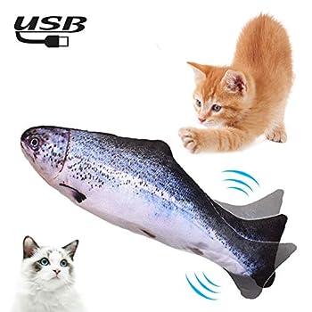 Lacyie Cataire Jouets Poisson, Electronique Catnip Cat Jouets Simulation en Peluche Poissons Forme Jouet Interactif Jouet à Mâcher Rechargeable USB,Appropriés pour Les Jouets pour Chat d'intérieur (B)