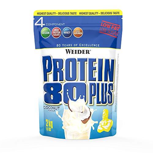 Weider Protein 80 Plus, Proteina de suero de suero de leche, Sabor Coco, 2000 gr ⭐