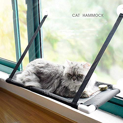 Hi-Hins Cat Window Perch, Large Bed Hammock Design for Any Cat Size, Deluxe Breathable Woven Fabric, Giant Suction Cups, The Best Window Cat Seat