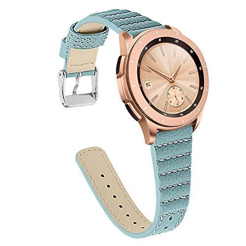 Tencloud Armband kompatibel mit Samsung Galaxy Watch 3 41 mm Armband schlankes Lederband Ersatzarmband fur Galaxy Watch 3 41 mmGalaxy Watch 42 mmGalaxy Watch ActiveActive 2 Smartwatch blau