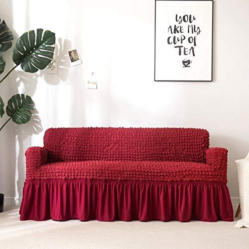 Schonbezug Popcorn Plaid Sofabezug Enge Wickel All-Inclusive elastische Couchbezug Mit Rock Sessel Möbelbezüge, Weinrot, Doppelsitz Sofa