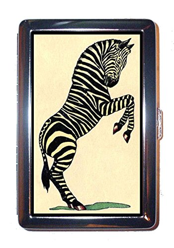 Zebra Antique Color Illustration: Stainless Steel ID or Cigarettes Case (King Size or 100mm)