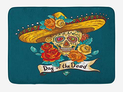 N\A Alfombra de baño del día de los Muertos, Sombrero Mexicano Calavera con Rosas, Alfombra de Felpa para decoración de baño con Respaldo Antideslizante, Azul petróleo, Turquesa Naranja