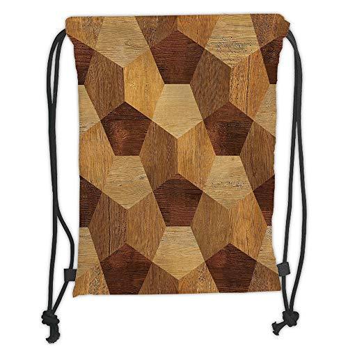 Fevthmii Drawstring Backpacks, Retro, abstrakt, Parkett, Flooring Wooden, rustikal, einfarbig, einfarbig, braun, Hellbraun, Satin, 5 l, Kapazität, verstellbare String Closure, TH