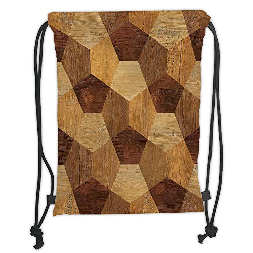 Fevthmii Drawstring Backpacks, Retro, abstrakt, Parkett, Flooring Wooden, rustikal, einfarbig, einfarbig, braun, Hellbraun, Satin, 5 l, Kapazität, verstellbare String Closure, TH