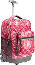 WEISHENGDA 18 inches Wheeled Rolling Backpack for Boys and Girls School Student Books Laptop Travel Trolley Bag, Pink