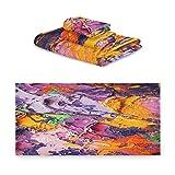 TropicalLife iRoad Juego de toallas de algodón 3 piezas de arte abstracto colorido impresión altamente absorbentes toallas de mano toallas de baño juego de toallas de baño para cocina