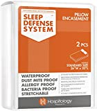 HOSPITOLOGY PRODUCTS Sleep Defense System - Zippered Pillow Encasement - Standard - Hypoallergenic Protector - Waterproof - Bed Bug & Dust Mite Proof - Set of 2-20' H x 26' W