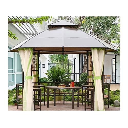 YYDD Villa Garden Furniture, Outdoor Gazebo Lawn Tent, 12x12 FT Outdoor Gazebos for Patios with Netting and Desk, Backyard Canopy Gazebo, for Garden, Patio, Lawns, Parties, Family Gathering