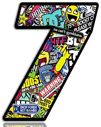 Biomar Labs® Startnummer Nummern Auto Moto Vinyl Aufkleber Sticker Bomb Stickerbomb Motorrad Motocross Motorsport Racing Nummer Tuning 7, N 207