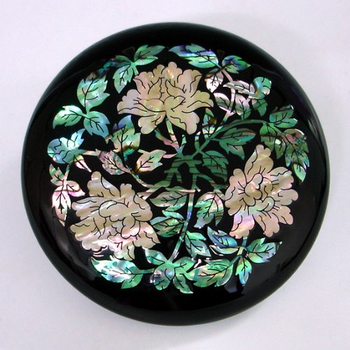Mother of Pearl Green Leaf Black Cosmetic Purse Makeup Compact Pocket Mirror with Peony Design by Antique Alive