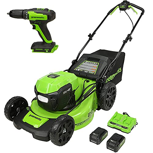 """Greenworks 48V 20"""" Brushless Cordless Self-Propelled Lawn Mower + 24V Brushless Drill / Driver, (2) 5.0Ah USB Batteries (USB Hub) and Dual Port Rapid Charger Included (2 x 24V)"""