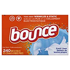Familiar scent of fresh linen Helps Reduce Wrinkles so you can iron less. Controls static cling in fabrics and helps repel lint & hair. Softens fabrics Toss in two Bounce dryer sheets for your average loads to iron less, fight more static, repel more...