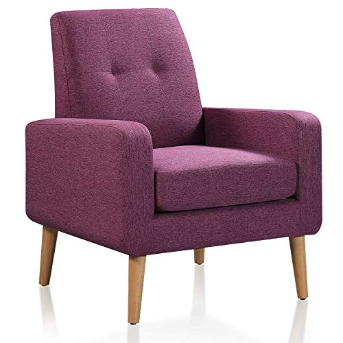 DAZONE Modern Upholstered Accent Chair Comfy Armchair Tufted Button Linen Fabric Single Sofa Arm Chair Living Room Furniture Purple