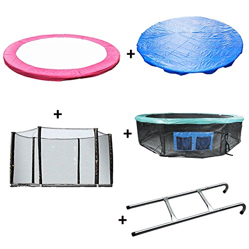 Greenbay 6ft Pink Trampoline Replacement Spring Cover Padding Pad & Safety Net & Skirt & Rain Cover & Ladder Bundle