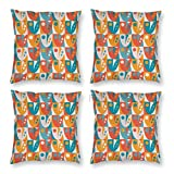 Pillow Covers 18 x 18 Inch Set of 4, Mid Century Modern Style Floral Shapes Inspi Motifs with Dots Illustration Art Print Decorative Throw Pillow Case Cushion Cover for Sofa Couch Sofa Home Decor