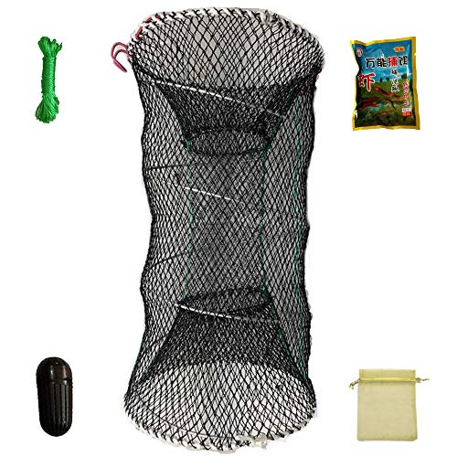 FREGITO Crab Trap, Collapsible Minnow Shrimp Lobster Crawfish Cast Net, Crab Snare Survival Equipment, 13in×23.6in (23.6, 13)