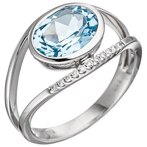 Ring Damenring mit Blautopas blau hellblau & 11 Brillanten 585 Gold Weißgold, Ringgröße:Innenumfang 56mm ~ Ø17.8mm