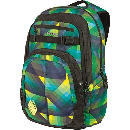 Nitro Chase Rucksack, Schulrucksack mit Organizer, Schoolbag, Daypack mit 17 Zoll Laptopfach, Geo Green, 35L