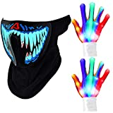 LED Skeleton Gloves Chrismas Light Gloves and Light Up Music Mask Led Sound Activated Mask LED Halloween Party Mask for Christmas party, Halloween party, dancing, riding, music festival and themed parties