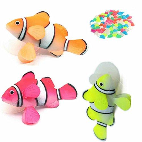GOOTRADES 3 Stk Künstliche Clownfische Aquarium Deko, Schwimmend und Glühend, Plus 10 Stück Künstliche Kieselsteine