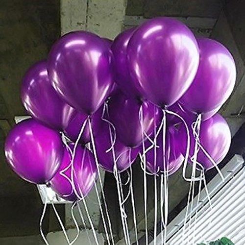 seguryy Sachet De 200 Ballons Nacrés Perle Latex –10pouces Ballons Décoration pour Anniversaire Mariage Soirée Partie (Violet)