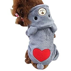 Vêtements pour chien, Koly Chien vêtements chauds Puppy Coeur Jumpsuit Hoodie Dog Hooded chemise
