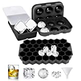 PENGWING Ice Cube Tray, 3 Pack Silicone Ice Cube Tray with Lids Spill-Resistant and Removable, Honeycomb Sphere Square Covered Ice Cube Trays for Cocktails and Whiskey Ice Cube Mold Set with Funnel