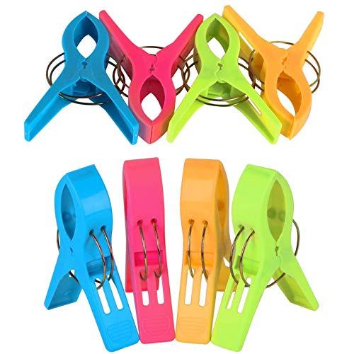 8PCS Clips Toalla Playa Grandes, Grandes Playa Toalla Clips Pinzas de Plástico Fuerte, Durable Clips, para Toallas, Ropa, Alfombras, Cortinas (Color Aleatorio)
