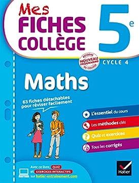 Broché Mes fiches collège Maths 5e: 40 fiches de révision ...