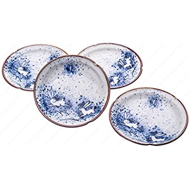 Japanese Porcelain Sushi Wasabi Soy Sauce Dipping Dishes, Blue Moon Rabbit, 4-5/8 Inches Dia. X 7/8 Inhces High, Set of 4 Saucers