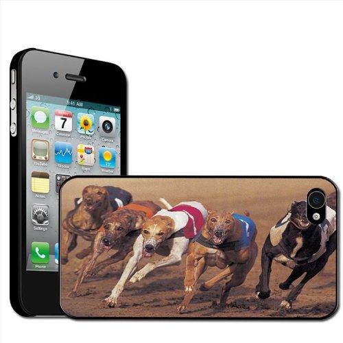 Fancy A Snuggle - Carcasa rígida para iPhone 4 y 4S, diseño de carrera de galgos