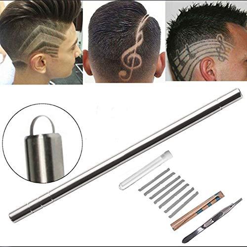 Hair tattoo engraving pen, trimming facial eyebrow shaving pen, hair design facial shaping, 10 blades/tweezers, eyebrows, bear, razor, hairdressing tools, tattoo