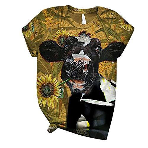 Fcostume Kuh Tshirt Tier Gedruckt Tops Damen Sommer Retro Kurzarm T-Shirts GroßE GrößE Oberteile Casual Rundhals Bluse Frauen 3D Print Shirt