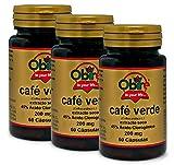 Obire | Café Verde 200 mg | (Extracto Seco 45% Ácido Clorogénico) 60 Cápsulas (Pack 3 unid.)
