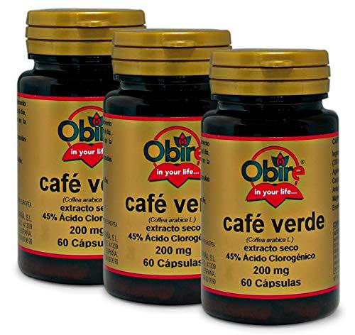Obire   Café Verde 200 mg   (Extracto Seco 45% Ácido Clorogénico) 60 Cápsulas (Pack 3 unid.)