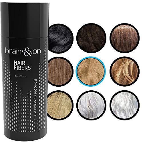 Brains & Son Streuhaar - Premium Haarverdichtung / Schütthaar mit Soforteffekt bei Geheimratsecken, Haarausfall und lichtem Haar - Haarpuder | 25g (MITTELBLOND)