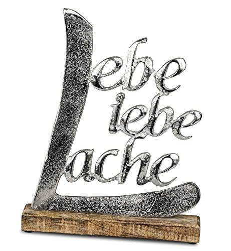 Schriftzug Lache Liebe Lebe aus Aluminium / Mango Holz Deko Aufsteller Tischdeko Wohndekoration (32cm)