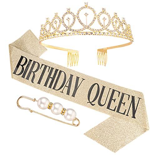 Kroy PecoeD - Corona de cumpleaños para mujer, niña, disfraz de cumpleaños, accesorio decorativo