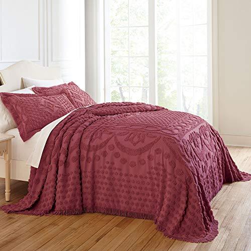 BrylaneHome Georgia Chenille Bedspread - King, Burgundy