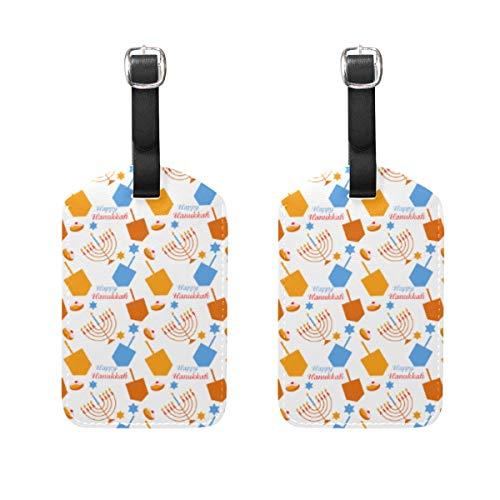 WINCAN Gepäckanhänger (Sortiert, 2 PK),Muster Chanukka-Symbol-Bunte Vektor-IllustrationGepäckanhänger, Kofferanhänger für Rucksäcke