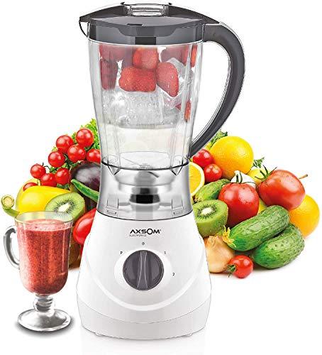 AXSOM - Jarra licuadora Vital Health II, Batidora de Vaso de 1,6 L, Licuadora Libre de BPA, Licuadora para Verduras y Frutas 600W. Diseño Europeo con 4 Cuchillas en Acero Inoxidable Ultra Afiladas