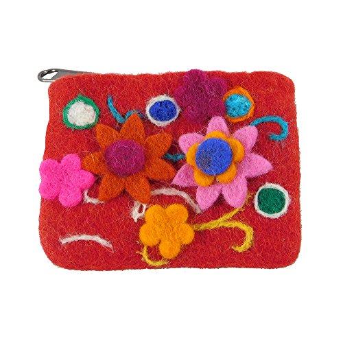musimon Geldbörse Börse Geldbeutel Täschchen Filz mit Blumen (rot, S)