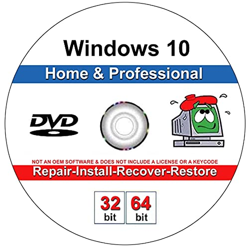 9th and Vine Compatible Windows 10 Home and Professional 32 64 Bit DVD. Install To Factory Fresh, Recover, Repair and Restore Boot Disc. Fix PC, Laptop and Desktop.