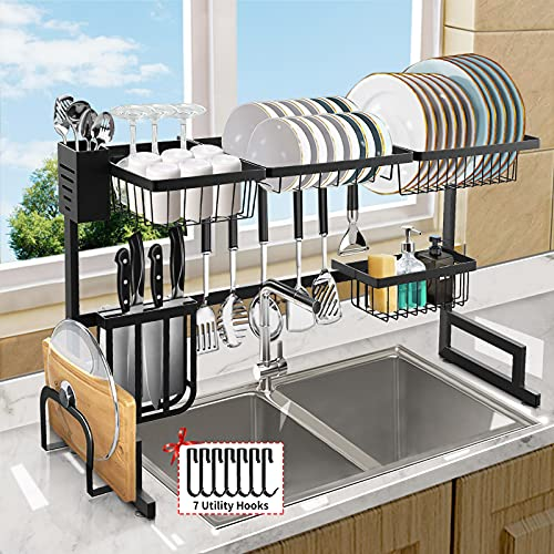 Over The Sink Dish Drying Rack, Length (33.4-41.3'') Adjustable Large 2 Tier Stainless Steel Dish Dryer Rack for Kitchen Organizer Storage Space Saver Shelf Utensils Holder Drainer