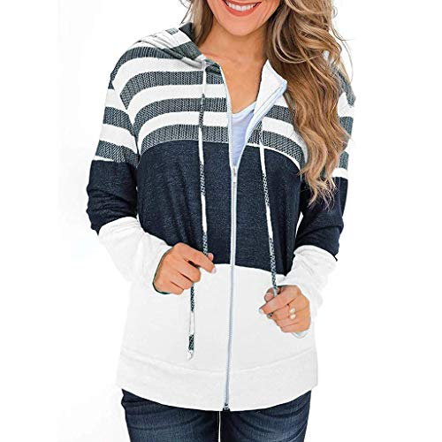 YEBIRAL Damen Kapuzenjacke Langarm Pullover Kapuzenpullover Streifen Lässige Farbblock Sweatjacke Hoodie Sweatshirt mit Reissverschluss