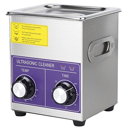 Cocoarm 1pc Edelstahl Digital Ultraschallreiniger Ultraschallreinigungsgerät Beheizte Reinigung Tank Maschine mit Heizung Digitale Timer und Korb (2L)