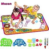 Moson Wasser Doodle Matte, Aqua Doodle Matte mit 2 Magischer Stifte, 8 x Formen und 2 Schablonen,Wasser Zeichnung Matte Spielzeug
